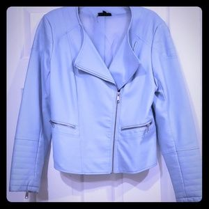 Light blue faux leather jacket